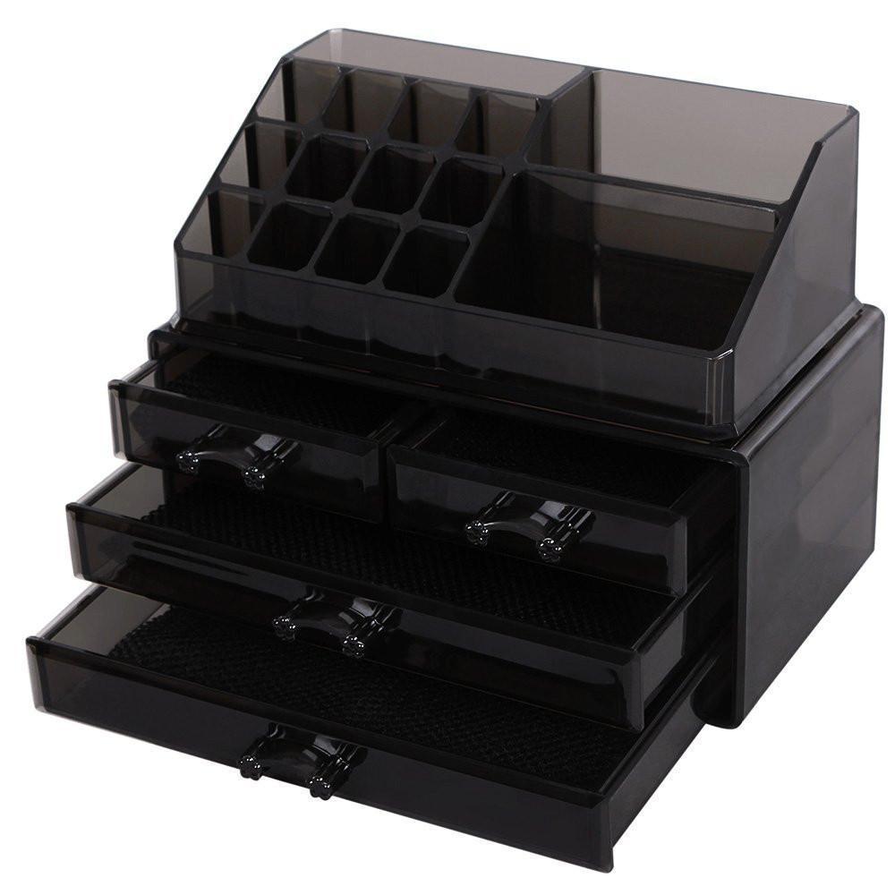 Custom Color Acrylic Cosmetic Organizer Box Black Makeup