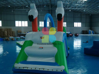 Inflatable Floating island water park games with slide for sale RB32078