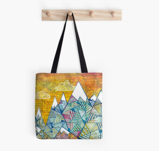 Poyester Cotton reusable Saturday Market Tote Geometric Maps