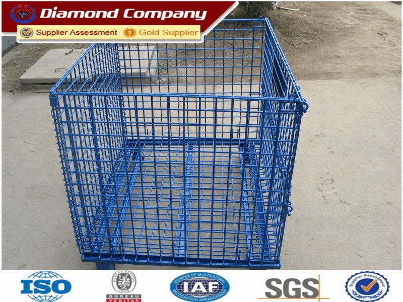 Galvanized welded wire mesh container,warehouse steel storage cage ,Metal storage cage container.equipment metal storage cage