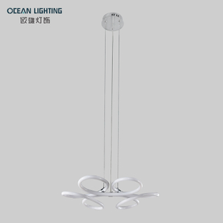Simple PVC Iron Tube Curved 45W Pendant Lamps LED Chandelier Modern
