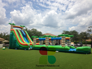 Commercial Long Inflatable Tropical Water Slide