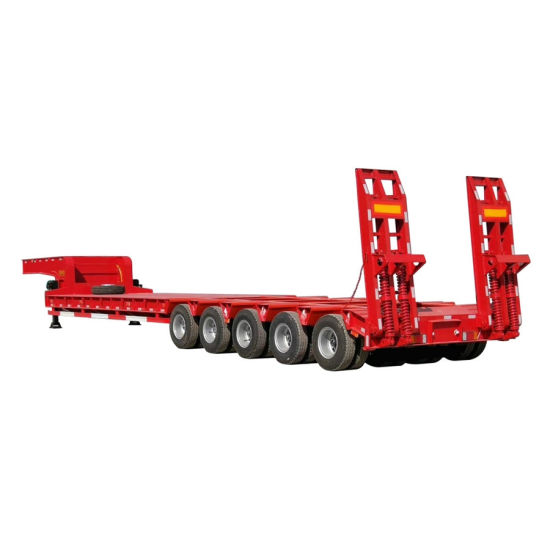 Customizing 4 Axles Low Bed Semi Trailer (80ton-150ton Lowboy Semi Trailer)
