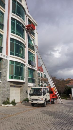 Truck Mounted Telescopic 38 Meter Platform Ladder (Ladder Truck For House Moving Goods Lift and Download Basket)