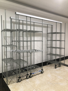 Compact Mobile Chrome Plated hygienic Wire Shelving For Hospital Storage