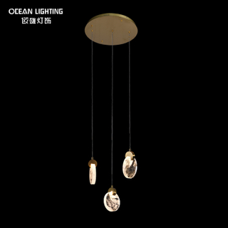 Gold Crystal Lighting Metal Pendant Lamp 3W*3 LED Modern Chandelier Luxury