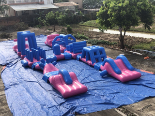 RB5252 24M Inflatable Floating Long Obstacle Course Water Game