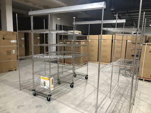 "High-Density Mobile Cold Room Hygienic Wire Shelving With Vented Shelves 86"" High"