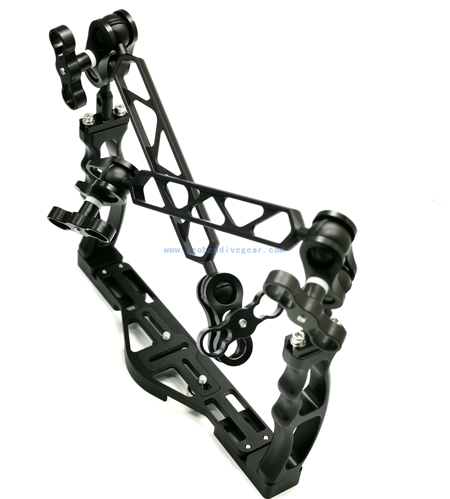 Underwater Aluminum Double Handle Camera Housing Arm Kit Tray