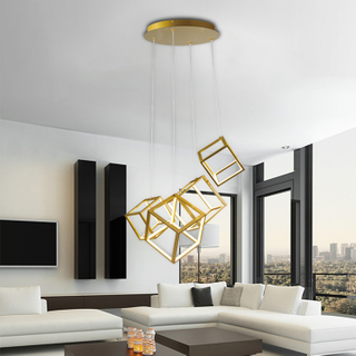 Modern Pendant Light with square Lights LED Adjustable Chandelier Ceiling Light Fixture for Dining Room Bedroom Living Room