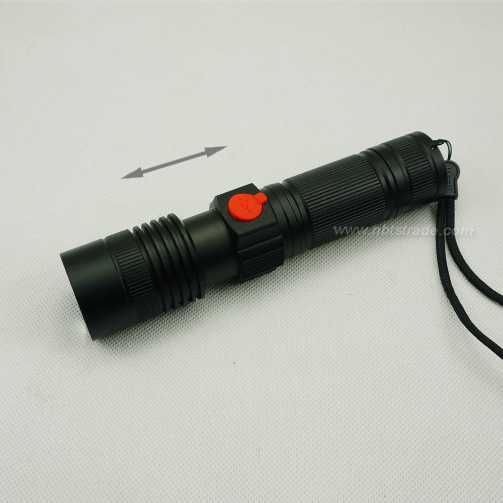 USB Rechargeable High Power LED Flashlight with Flood Light