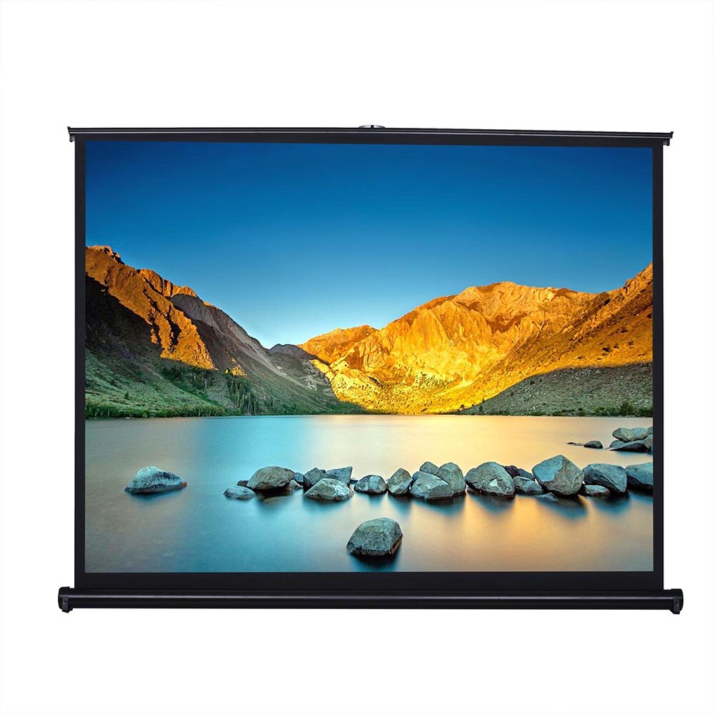 50'' 4:3 HD projection screen manual pull up folding tabletop