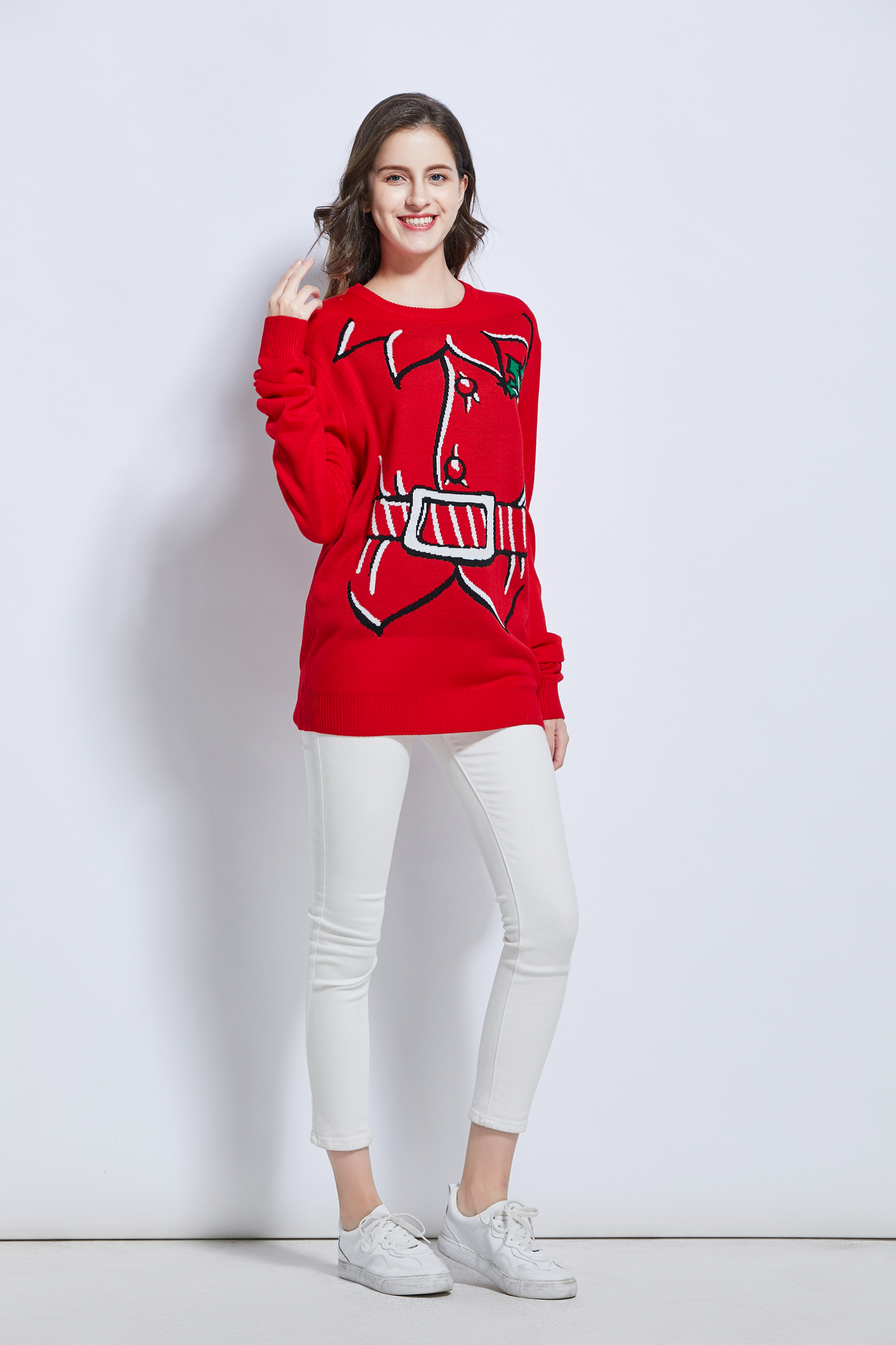 Team club player Festival promotion jacquard unisex knitting Christmas design rudolph reindeer ugly Christmas sweater