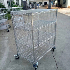 Chrome Five Shelf Wire Utility Cart with Enclosures Three Sides Mesh