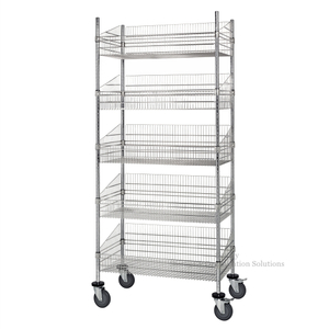 5 Layers for Grocery Storage Mobile Chrome Wire Grid Baskets Shelving