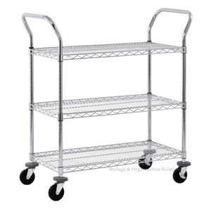 "Adjustable Wire Shelf Cart with Pull Handle Restaurant (36"" W X 14"" D X 38"" H)"