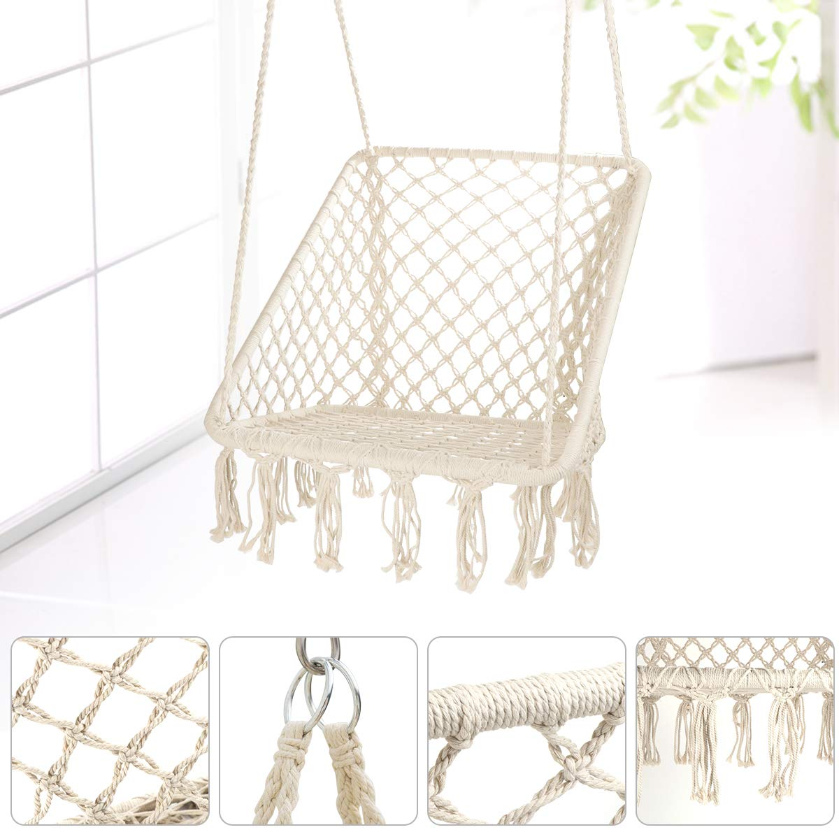 Square Cotton Rope Swing Hanging Chair