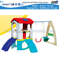 Al aire libre combinado de plástico Toddler Slide & Swing Kindergarten Equipment