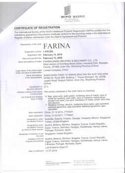 Celebrate the success our FARINA trademark registration in 17 new countries