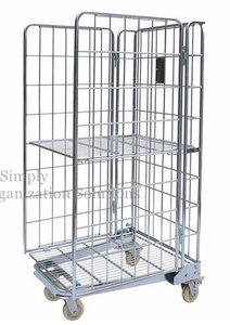 Galvanized Metal Stock Roll Cage Trolley Demountable Space Saving