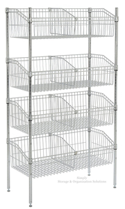 8 - Basket Retail Storage Silver Chrome Finish Wire Grid Baskets Shelving
