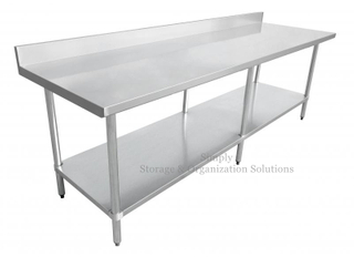 Silver Work Table with Splashback One-Piece Structure Use for Kitchen Restaurant