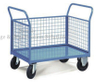 Two Handles 3 Mesh Sides Stores Trolley for Industrial Warehouse
