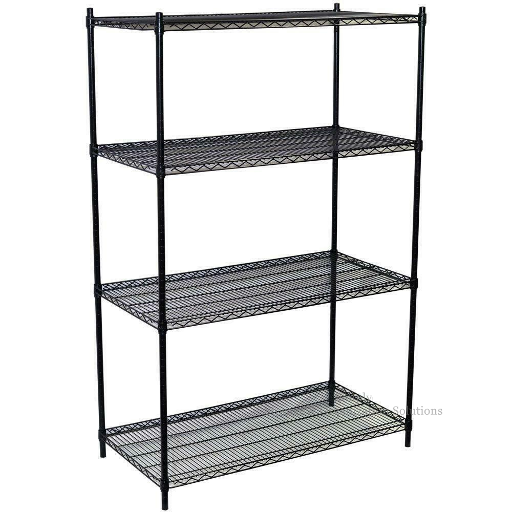 4 Layers Black Wire Rack Grocery Store Heavy Duty Wire Shelving