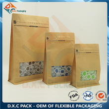 Kraft Paper Flat Bottom Pouch with Clear Window and Pocket Zipper
