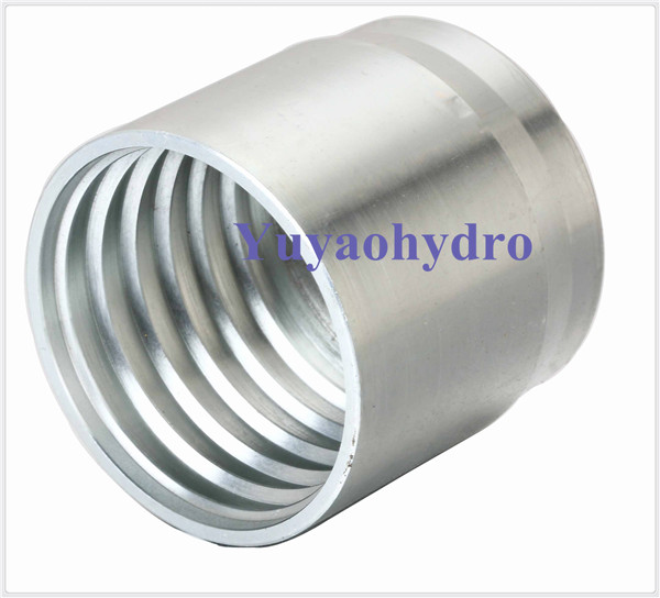 Stainless steel crimp ferrule for hose sae r a