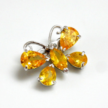 Butterfly Yellow CZ Brooch