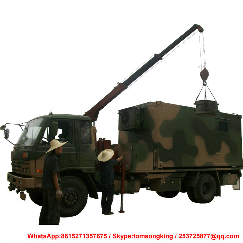 Dongfeng AWD Offroad Truck 4x4 Mounted Conainer With Crane 3 Ton