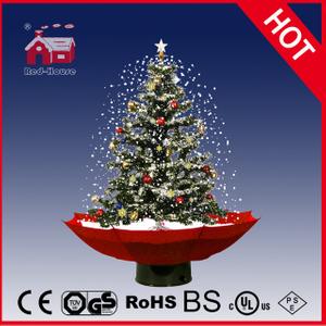 18030u075 Rs Snowing Christmas Tree With Umbrella Base