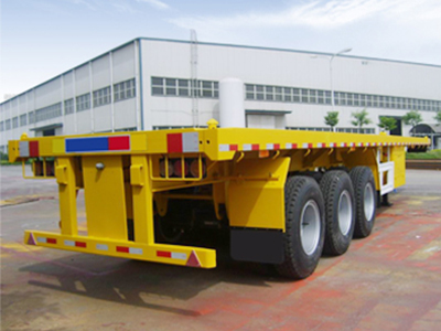 3 Axles 50T Carbon Steel Flatbed Semi Truck Trailer