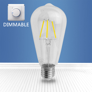 Dimmable filament glass bulb GT64 4W