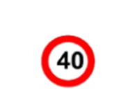 Traffic Sign Maximum speed 40 KPH