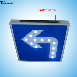Solar LED turn-left sign
