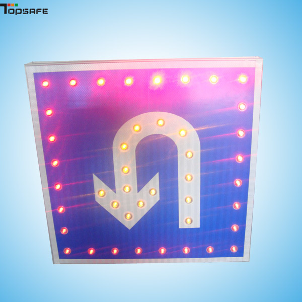 Solar LED U-turn traffic sign