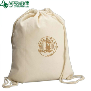 Natural White Cotton Canvas Drawstring Backpack (TP-dB183)