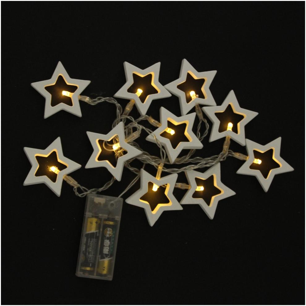 Led Battery Light Festival Light Wooden Pentagram Star Battery String Light