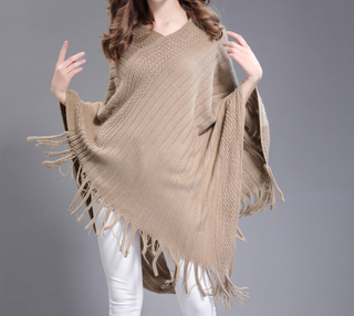 PK17ST426 Stylish Fringe Tassels Ponchos for Women