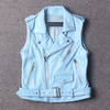 P18E087BE women casual sheepskin leather motorcycle biker vest pattern with leather belt