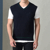 P18B198BE men winter warm cashmere V neck contract color fashion outfit knitted vest