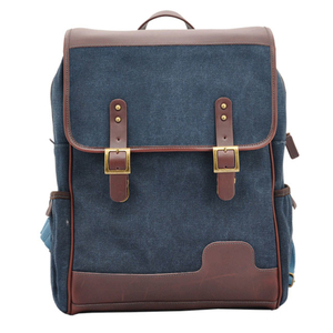 Mens canvas and leather backpack