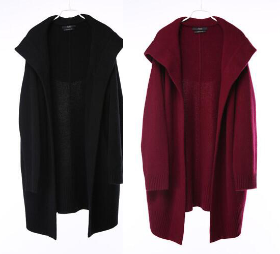 PK17ST430 lady fashion cashmere sweater oversized hoodie cardigan