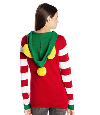 PK1870HX Ugly Christmas Sweater Juniors ELF Hoodie Pullover