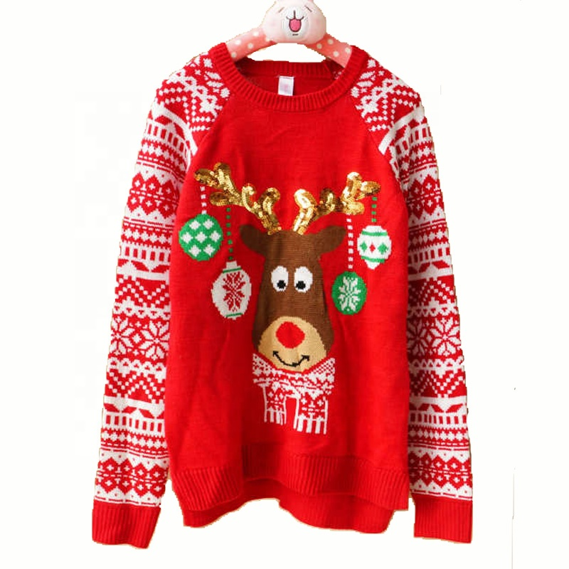 Unisex adults hotsale reindeer sweaters acrylic ugly christmas jumpers