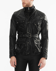 P18E035BW Latest fashion hot sale classic custom lambskin leather jacket for man all seasons calfskin