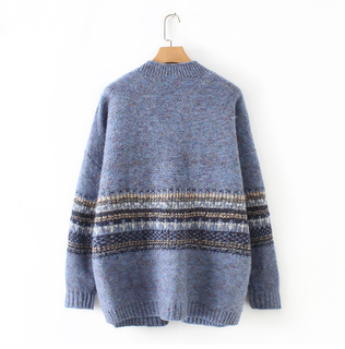 2019 Spring Women's Wool Cashmere Knit Blank Sweater Cardigan with Striped Jacquard