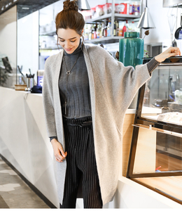 P18B020CH wool cashmere knit winter mid-length oversize batwing sleeves cardigan